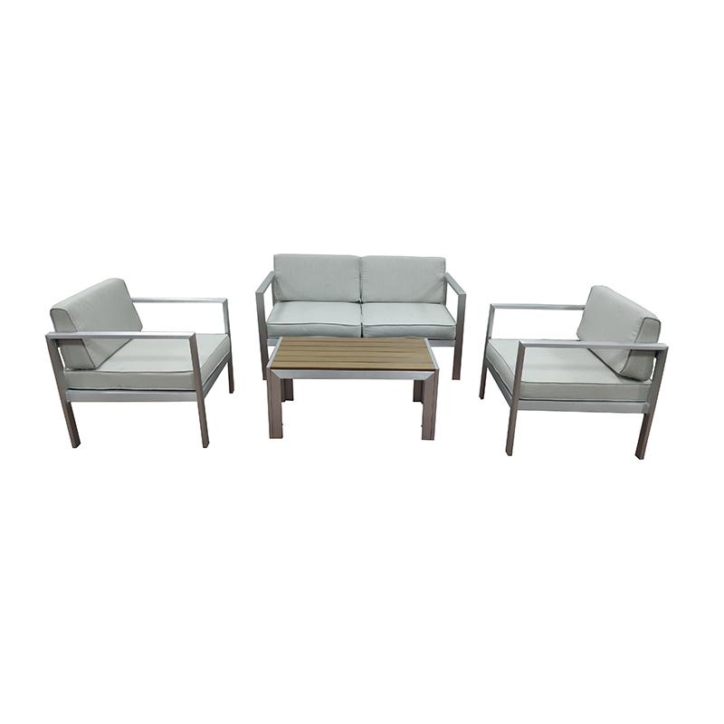 JJS4208 Aluminum PS wood 4pcs sofa set