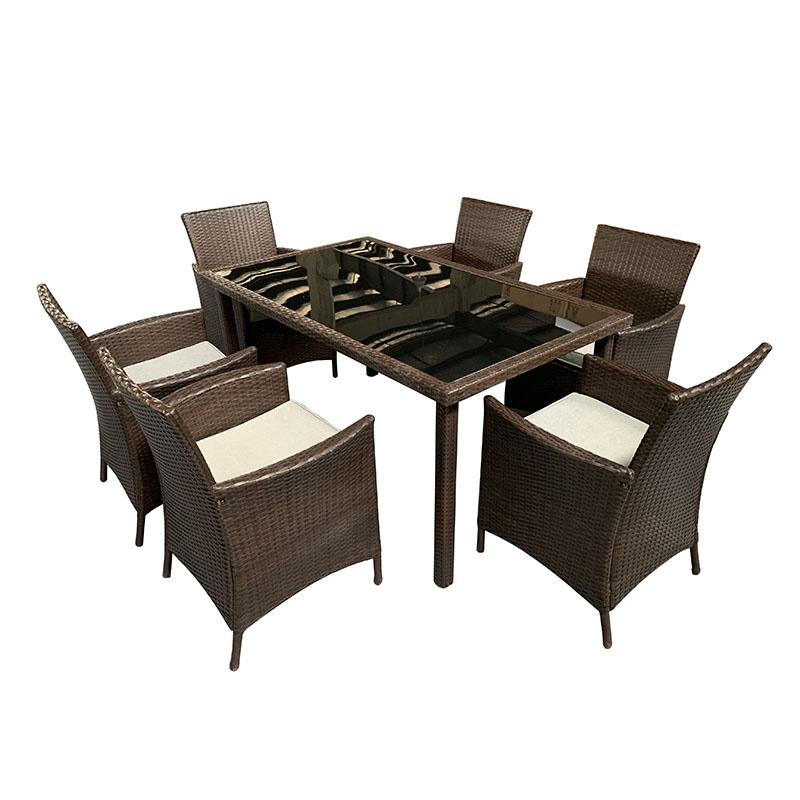 PriceList for Living Room Furniture - JJS320 Steel frame rattan garden dinning set – Jin-jiang Industry Featured Image