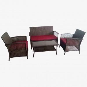 JJS3187W Steel frame rattan 4pcs sofa set
