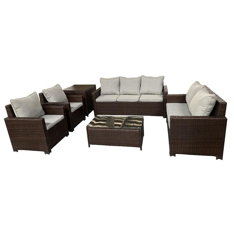JJS3202 Steel frame rattan 6pcs sofa set