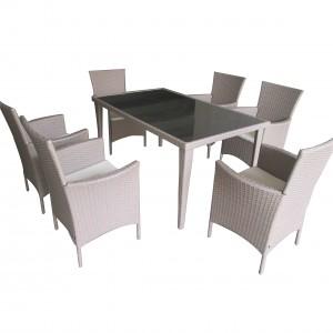2019 wholesale price Outdoor Furniture Sets - JJS3005W Steel frame rattan garden dinning set – Jin-jiang Industry