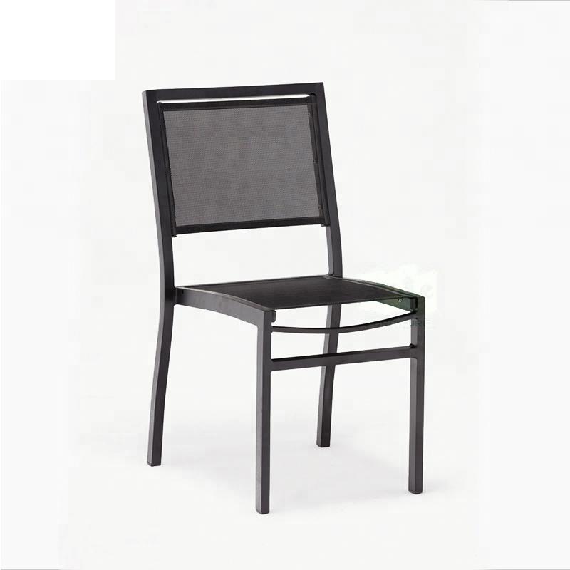 JJC418 Aluminum textilene stacking chair without armrest