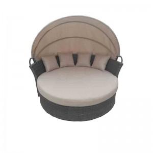 Big Discount Outdoor Furniture Rattan - JJ811AL Steel rattan big round lounger with roof – Jin-jiang Industry