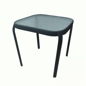 JJT309G Steel frame stackable glass table