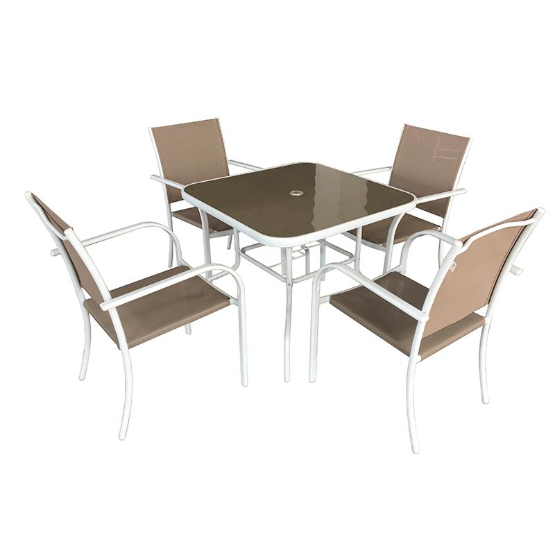 JJS514 Steel frame textilene folding garden set