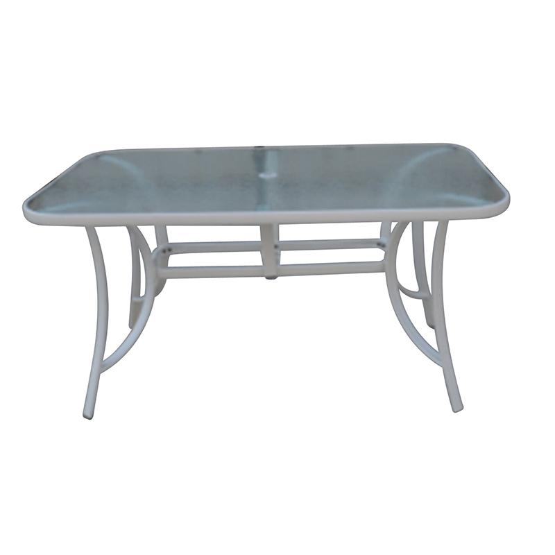 JJT3022G Steel frame outdoor rectangle glass table