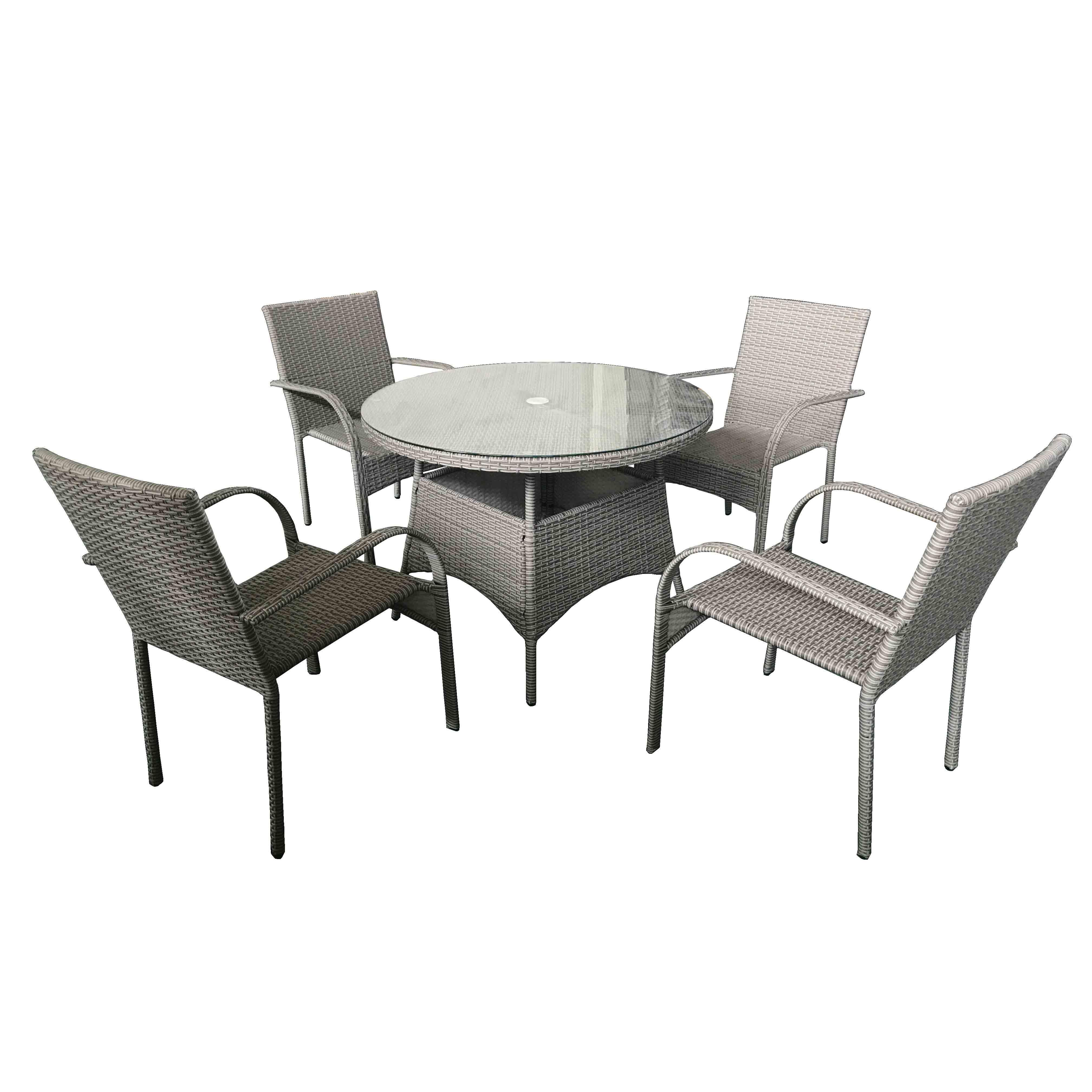 Chinese Professional Wicker Rattan Furniture Set - JJS3190W Steel frame rattan garden dinning set – Jin-jiang Industry