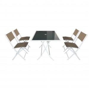 JJS512 Steel frame textilene folding garden set