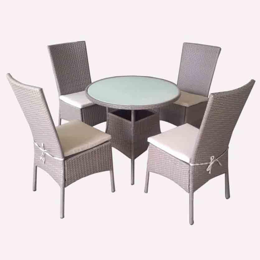 Chinese Professional Wicker Rattan Furniture Set - JJS3186W Steel frame rattan garden dinning set – Jin-jiang Industry