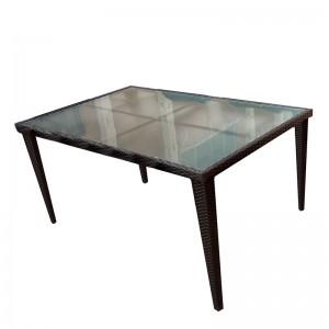 100% Original Restaurant Table - JJT3005G Steel rattan glass dining table – Jin-jiang Industry