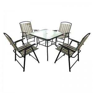 Top Suppliers Lighting Outdoor Garden Chair - JJS513 Steel frame textilene folding garden set – Jin-jiang Industry